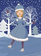 Winter skating girl - stock illustration