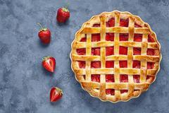 Homemade strawberry pie tart cake sweet baked pastry food Stock Photos