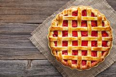 Traditional gourmet strawberry pie tart cake sweet baked pastry food - stock photo