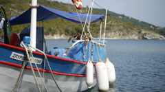 White boat on wave, fishing boat on the anchor Stock Footage
