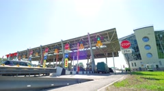 Cars at modern toll road turnpike, entry fee pay gate, cash money. Barriers are - stock footage