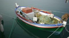 Fishing boat at anchor Stock Footage
