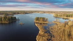 Flying over lake Vuoksa.Russia Stock Footage