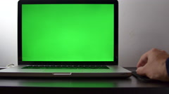 Man's Hand Working With A Wireless Mouse On His Laptop, Green Screen Stock Footage