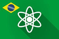 Long shadow Brazil flag with an atom Stock Illustration