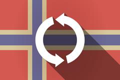 Long shadow Norway flag with a round recycle sign - stock illustration