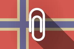 Long shadow Norway flag with a clip Stock Illustration