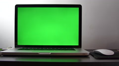 Pan Over A Writter's Desk At Home, Green Screen  Stock Footage