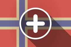 Long shadow Norway flag with a sum sign Stock Illustration