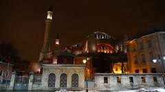 Panoramic wide angle view of Hagia Sophia, Aya Sofya, Istanbul, Turkey Stock Footage