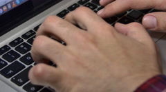 Inspired Writer Working Hard On His Laptop, Hands Detail, Side Shot - stock footage