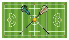 Regulation Lacrosse Field and Sticks Piirros
