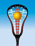 Closeup of Lacrosse Stick Pocket and Ball - stock illustration
