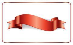 Red ribbon satin banner Stock Illustration