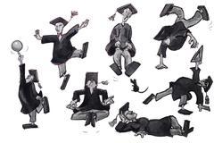 Graduate illustration set Stock Illustration