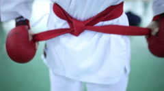 Young karateka ready for battle Stock Footage