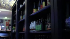 Bottles Of Craft Beer Stored In A Cellar Stock Footage