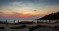 Day to Night while Light Changing at The Sea after Sunset Stock Footage