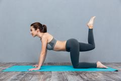 Young beautiful fitness girl doing yoga exercise Stock Photos