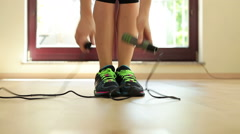 Close up of jumping legs on the jump rope HD Stock Footage