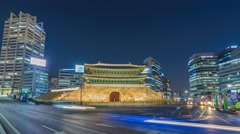 Namdaemun Gate (Sungnyemun) at night, Seoul, South Korea, 4K Time lapse - stock footage