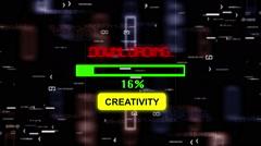 Creativity downloading progress bar - stock footage