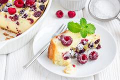 Homemade casserole with cottage cheese, semolina and raspberries, horizontal Stock Photos
