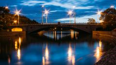 Night View Of River And Bridge In Minsk, Belarus Stock Photos