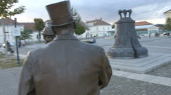 Two statues talking to each other in the center of Alba Iulia, Romania Stock Footage