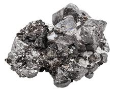 druse of black crystals of magnetite mineral stone - stock photo