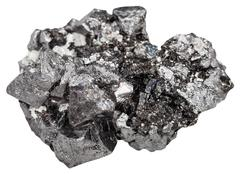 druse of big crystals of magnetite mineral stone - stock photo