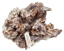 axinite crystals and one quartz crystal in matrix - stock photo