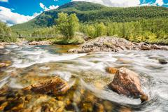 Mountain River In Norway. Landscape, Nobody Stock Photos