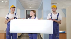 Cleaners held a white cloth in his hands. Stock Footage