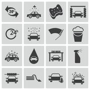 Vector Black  Car Wash Icons Set Piirros