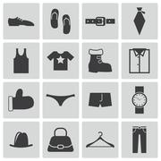 Vector Black  Clothes  Icons Set Stock Illustration