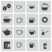 Vector Black  Coffe Icons Set Stock Illustration