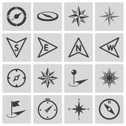 Vector Black Compass Icons Set - stock illustration