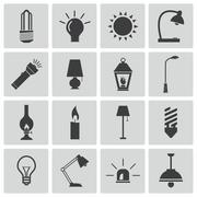 Vector Black Light Icons Set Stock Illustration