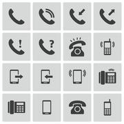 Vector Black Telephone Icons Set Stock Illustration