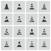 Vector Black Traffic Cone   Icons Set - stock illustration