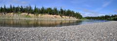 Panoramic view of the river. - stock photo