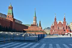 Moscow Kremlin and Lenin's Mausoleum. - stock photo