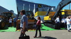 Exhibits, cars and construction equipment International Specialized Exhibition Stock Footage