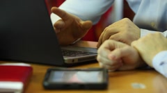 Business partners entering information into the laptop.  Planning Stock Footage