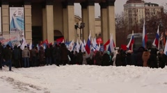 Russia, Moscow, March 18, 2016. The rally in the square. Stock Footage