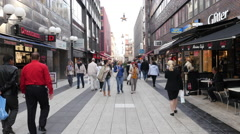 People walking in Shopping Plaza - Stockholm Sweden Stock Footage