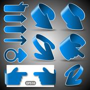 Set of 3D Paper Cut Vector Arrow Illustrations Clip-Art - stock illustration