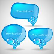 Blue Speech Bubbles Collection Clip-Art - stock illustration