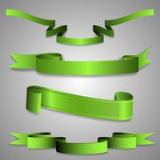Set of Green Ribbon Designs Stock Illustration